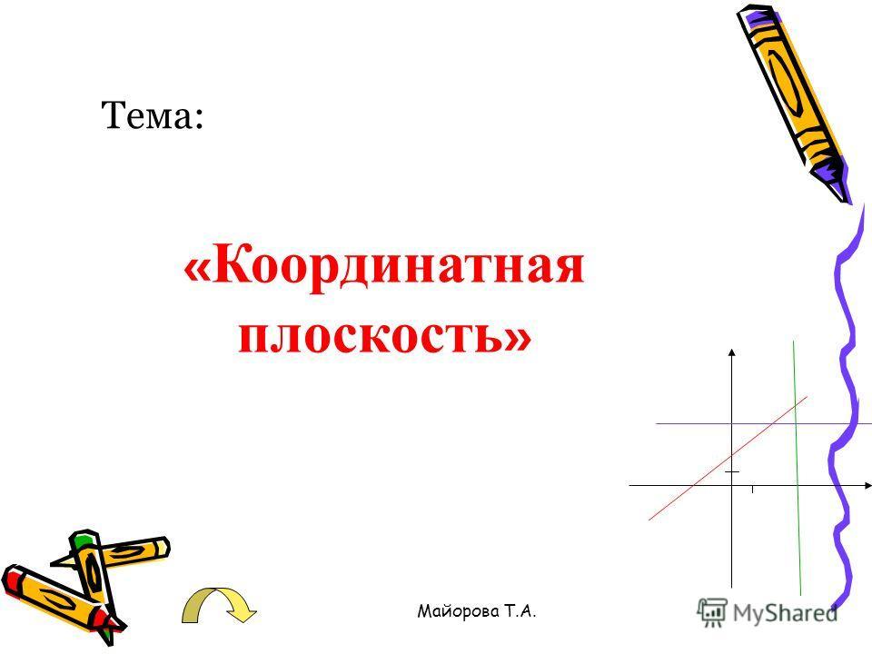 Майорова Т.А. Тема: « Координатная плоскость »