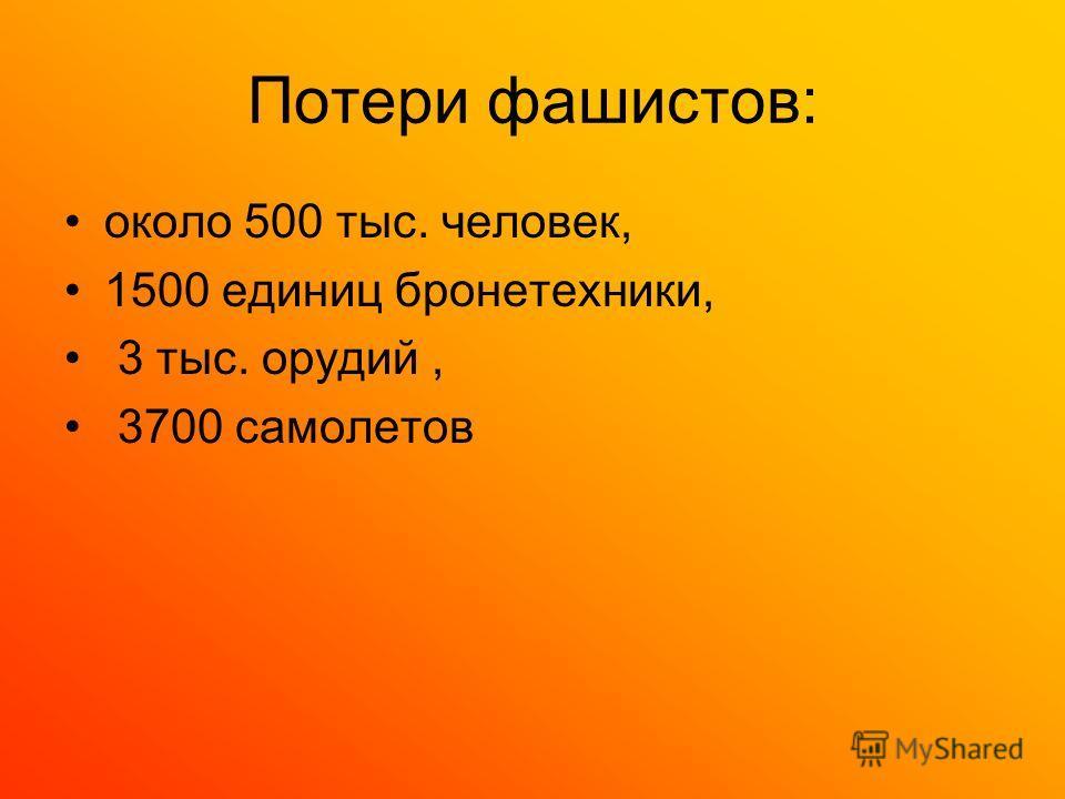 Потери фашистов: около 500 тыс. человек, 1500 единиц бронетехники, 3 тыс. орудий, 3700 самолетов