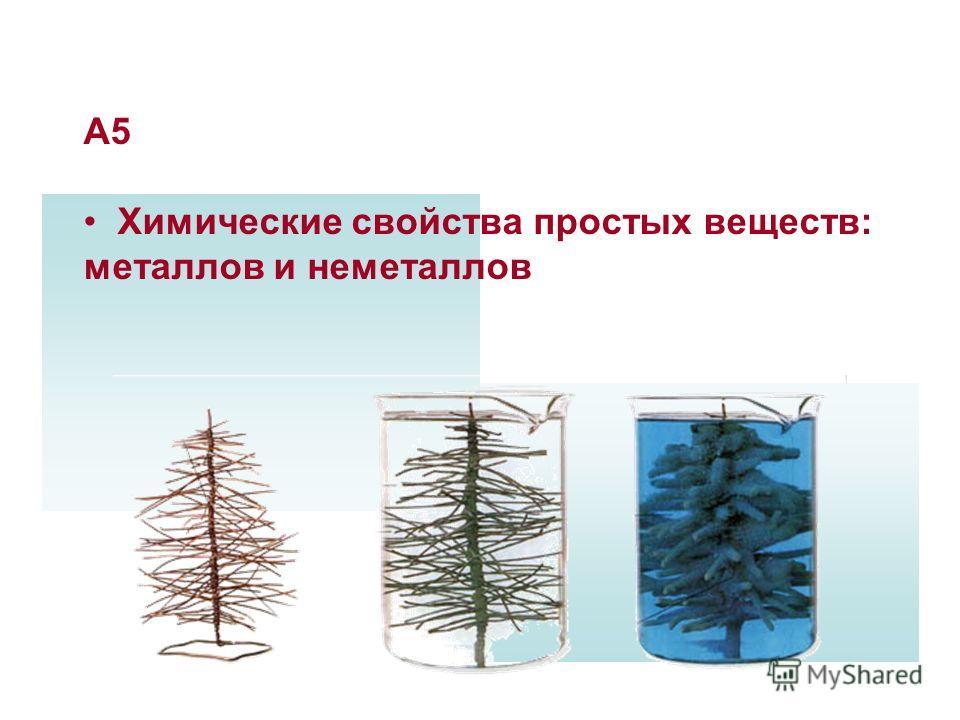 А11 Химические свойства простых веществ: металлов и неметаллов 1 вариант 2 вариант Ответы: А5 Химические свойства простых веществ: металлов и неметаллов