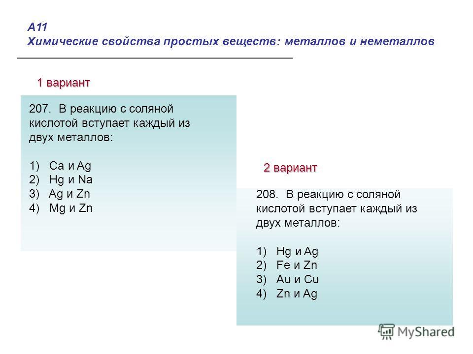 А11 Химические свойства простых веществ: металлов и неметаллов 1 вариант 2 вариант Ответы: 207. В реакцию с соляной кислотой вступает каждый из двух металлов: 1) Ca и Ag 2) Hg и Na 3) Ag и Zn 4) Mg и Zn 208. В реакцию с соляной кислотой вступает кажд