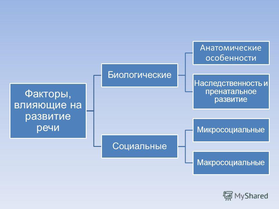 Факторы, влияющие на развитие речи Биологические Анатомические особенности Наследственность и пренатальное развитие Социальные Микросоциальные Макросоциальные