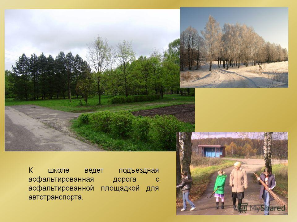 К школе ведет подъездная асфальтированная дорога с асфальтированной площадкой для автотранспорта.