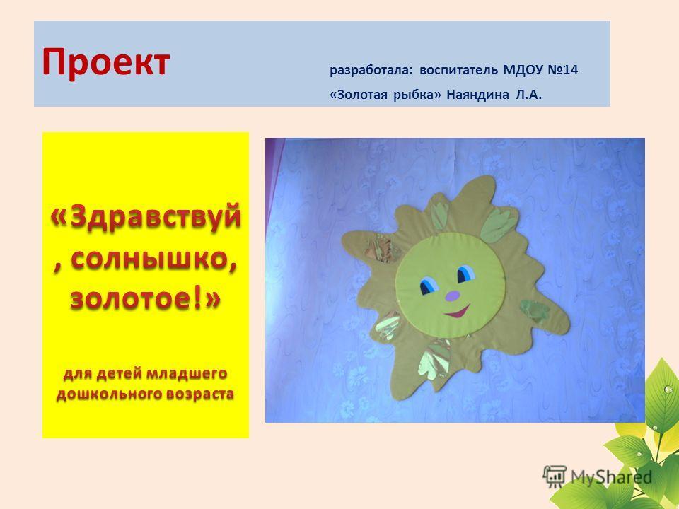Проект разработала: воспитатель МДОУ 14 «Золотая рыбка» Наяндина Л.А.
