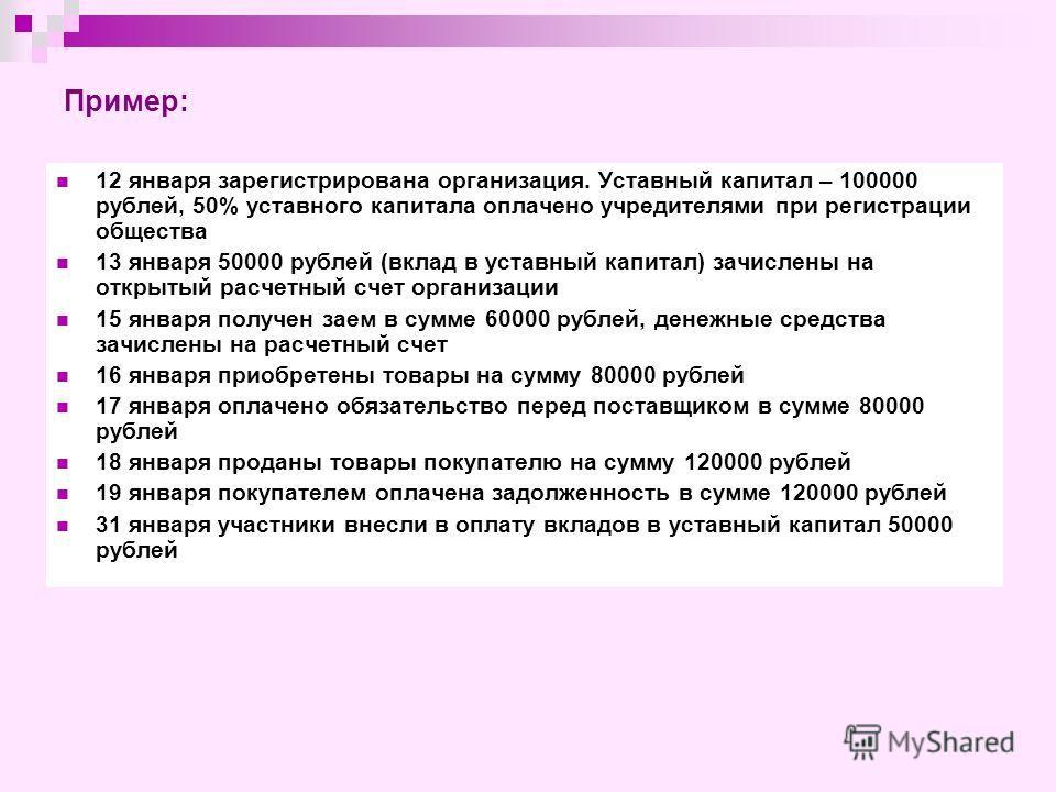 Пример: 12 января зарегистрирована организация. Уставный капитал – 100000 рублей, 50% уставного капитала оплачено учредителями при регистрации общества 13 января 50000 рублей (вклад в уставный капитал) зачислены на открытый расчетный счет организации