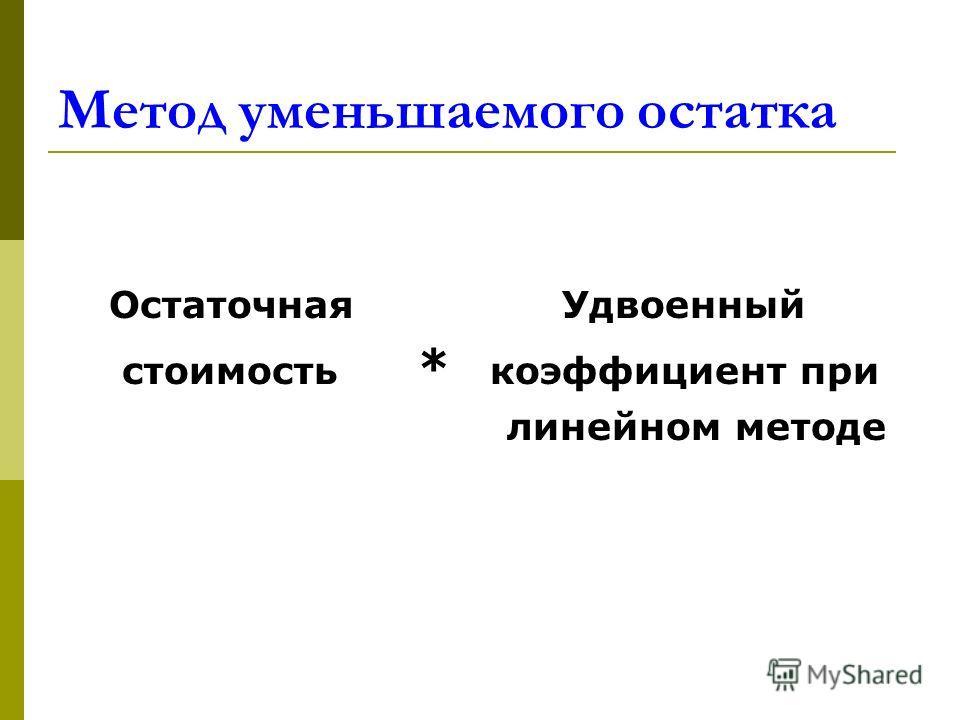 Метод уменьшаемого остатка Остаточная Удвоенный стоимость * коэффициент при линейном методе
