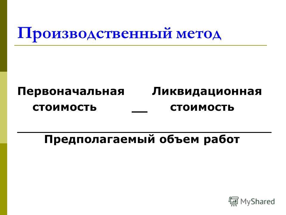 Производственный метод Первоначальная Ликвидационная стоимость стоимость Предполагаемый объем работ