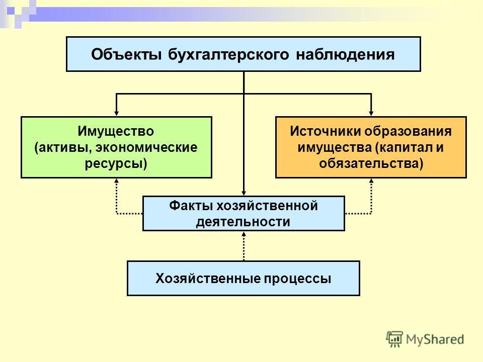 Объекты бухгалтерского наблюдения Имущество (активы, экономические ресурсы) Источники образования имущества (капитал и обязательства) Факты хозяйственной деятельности Хозяйственные процессы