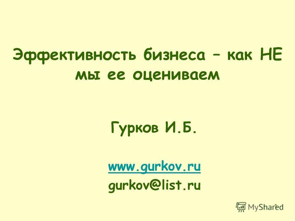 1 Эффективность бизнеса – как НЕ мы ее оцениваем Гурков И.Б. www.gurkov.ru gurkov@list.ru