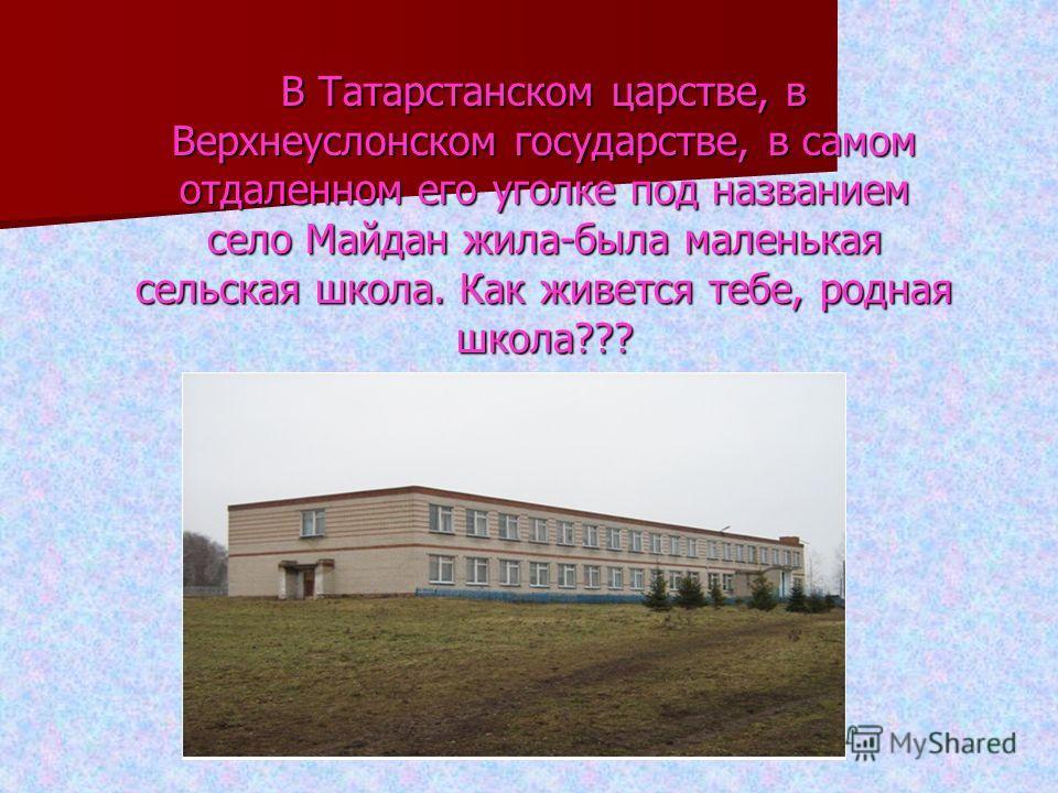 В Татарстанском царстве, в Верхнеуслонском государстве, в самом отдаленном его уголке под названием село Майдан жила-была маленькая сельская школа. Как живется тебе, родная школа???