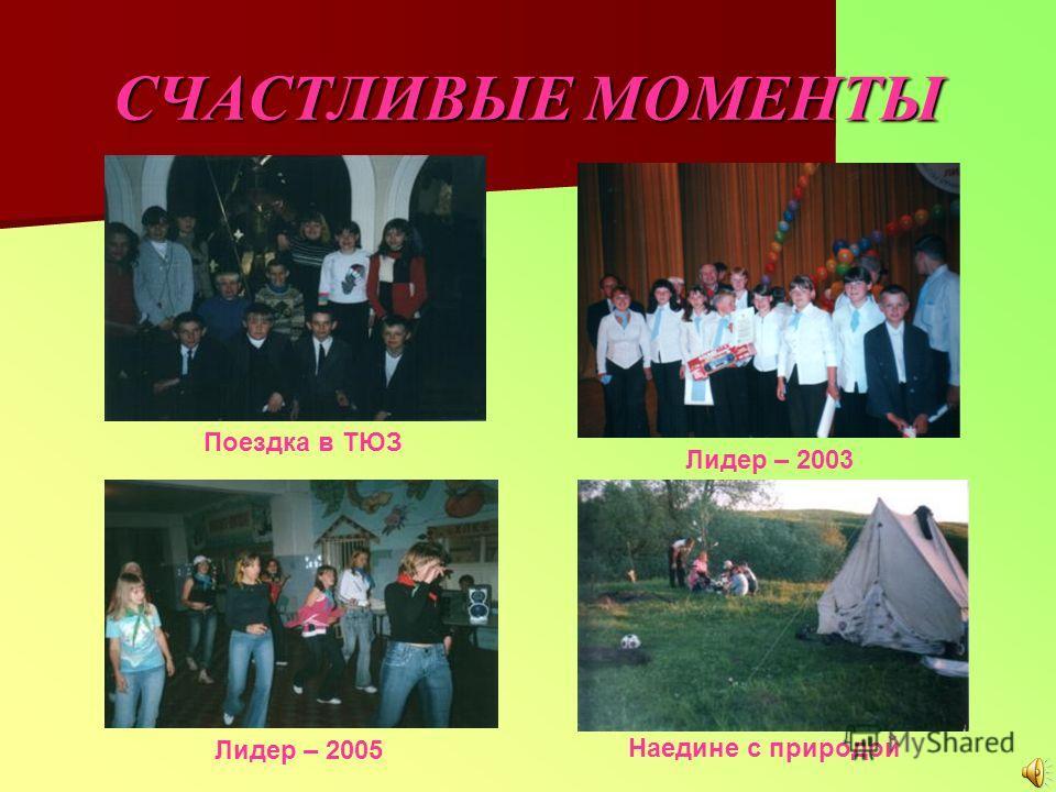 СЧАСТЛИВЫЕ МОМЕНТЫ Лидер – 2003 Наедине с природой Поездка в ТЮЗ Лидер – 2005