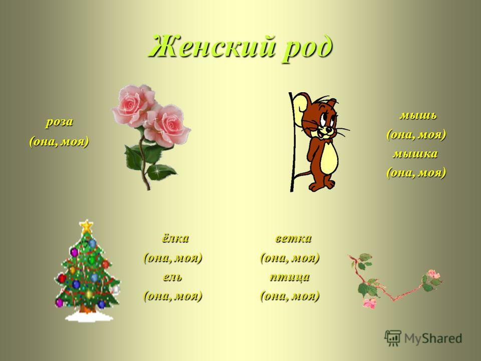Женский род роза (она, моя) мышь (она, моя) (она, моя) мышка мышка (она, моя) (она, моя) ёлка (она, моя) (она, моя) ель ель (она, моя) (она, моя) ветка (она, моя) (она, моя) птица птица (она, моя) (она, моя)