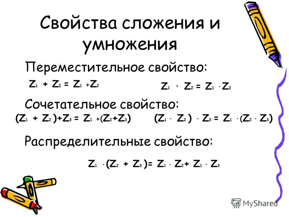 Свойства сложения и умножения Переместительное свойство: Сочетательное свойство: Распределительные свойство: Z 1 + Z 2 = Z 1 + Z 2 Z 1 · Z 2 = Z 1 · Z 2 Z 1 · (Z 2 + Z 3 )= Z 1 · Z 2 + Z 1 · Z 3 (Z 1 + Z 2 )+Z 3 = Z 1 +( Z 2 +Z 3 )(Z 1 · Z 2 ) · Z 3