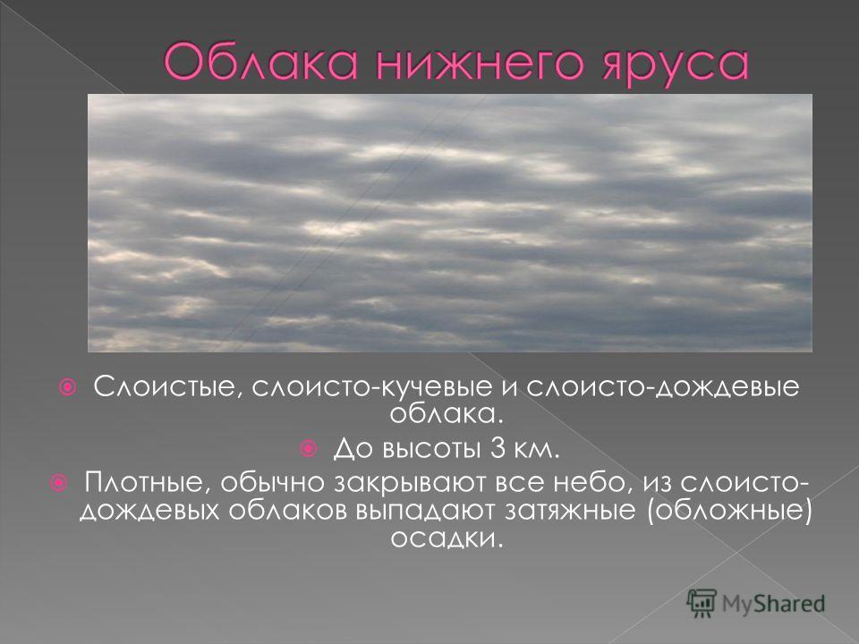 Слоистые, слоисто-кучевые и слоисто-дождевые облака. До высоты 3 км. Плотные, обычно закрывают все небо, из слоисто- дождевых облаков выпадают затяжные (обложные) осадки.