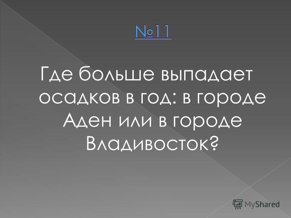 Где больше выпадает осадков в год: в городе Аден или в городе Владивосток?