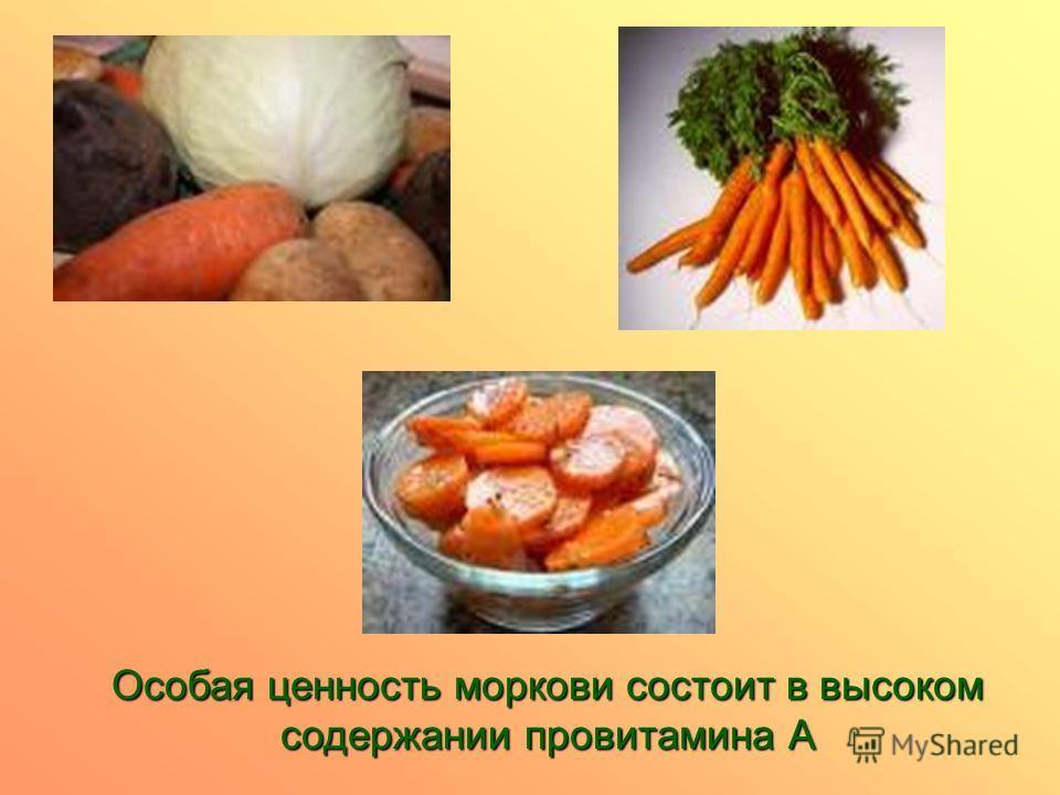Особая ценность моркови состоит в высоком содержании провитамина А
