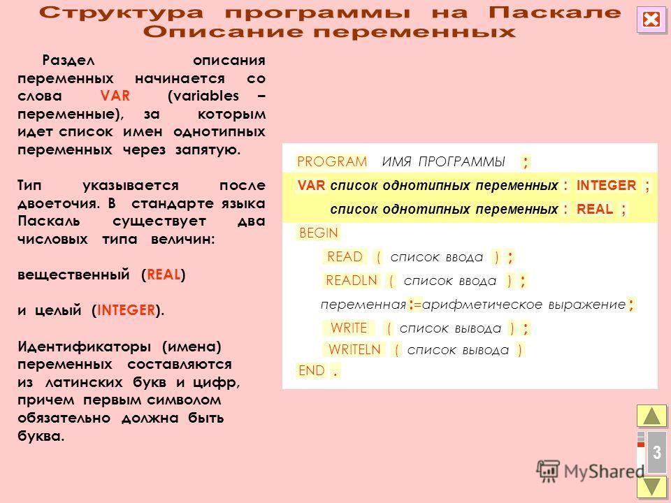 Раздел описания переменных начинается со слова VAR (variables – переменные), за которым идет список имен однотипных переменных через запятую. Тип указывается после двоеточия. В стандарте языка Паскаль существует два числовых типа величин: вещественны