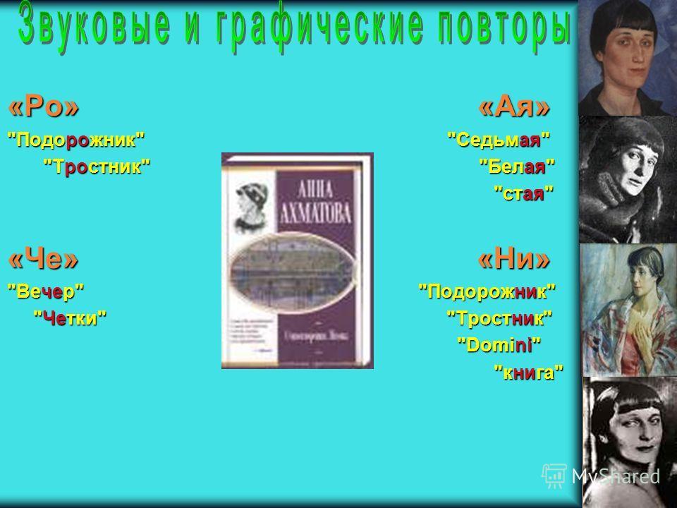 «Ро» «Ая» Подорожник Седьмая Тростник Белая Тростник Белая стая стая «Че» «Ни» ВечерПодорожник Вечер Подорожник ЧеткиТростник Четки Тростник Domini Domini книга книга