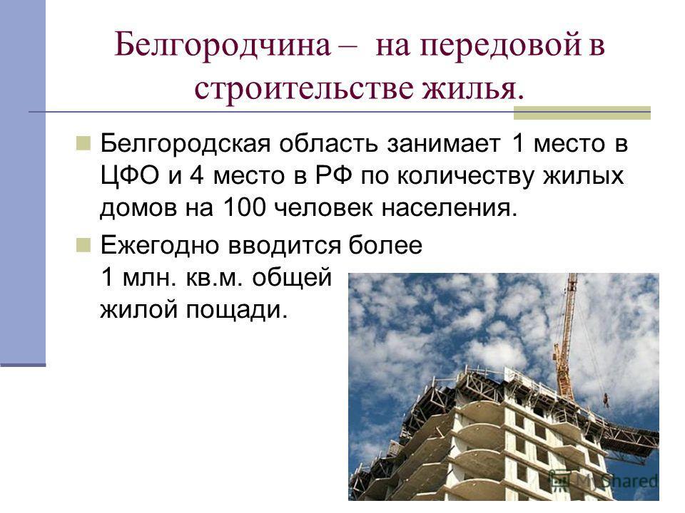 Белгородчина – на передовой в строительстве жилья. Белгородская область занимает 1 место в ЦФО и 4 место в РФ по количеству жилых домов на 100 человек населения. Ежегодно вводится более 1 млн. кв.м. общей жилой пощади.