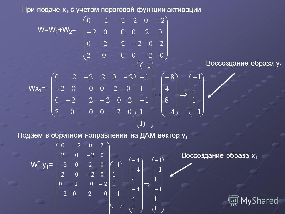 При подаче х 1 с учетом пороговой функции активации W=W 1 +W 2 = Wx 1 = Воссоздание образа у 1 Подаем в обратном направлении на ДАМ вектор у 1 W Т у 1 = Воссоздание образа х 1