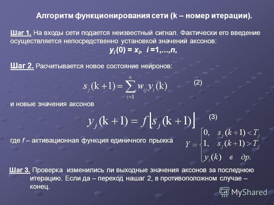 Алгоритм функционирования сети (k – номер итерации). Шаг 1. На входы сети подается неизвестный сигнал. Фактически его введение осуществляется непосредственно установкой значений аксонов: y i (0) = x i, i =1,...,n, Шаг 2. Расчитывается новое состояние