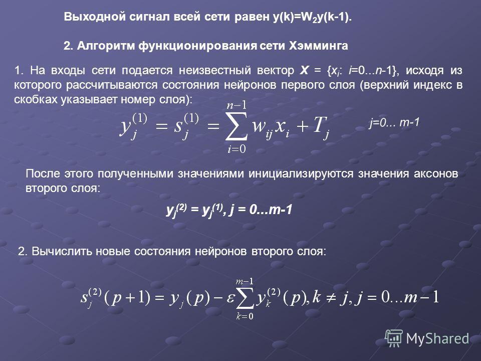 Выходной сигнал всей сети равен y(k)=W 2 y(k-1). 2. Алгоритм функционирования сети Хэмминга 1. На входы сети подается неизвестный вектор X = {x i : i=0...n-1}, исходя из которого рассчитываются состояния нейронов первого слоя (верхний индекс в скобка