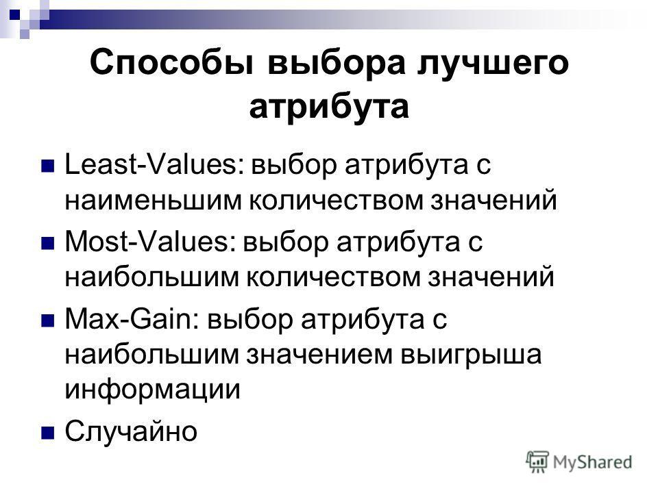 Способы выбора лучшего атрибута Least-Values: выбор атрибута с наименьшим количеством значений Most-Values: выбор атрибута с наибольшим количеством значений Max-Gain: выбор атрибута с наибольшим значением выигрыша информации Случайно