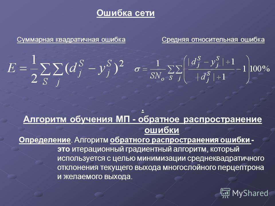Ошибка сети Суммарная квадратичная ошибкаСредняя относительная ошибка. Алгоритм обучения МП - обратное распространение ошибки Определение. Алгоритм обратного распространения ошибки - это итерационный градиентный алгоритм, который используется с целью