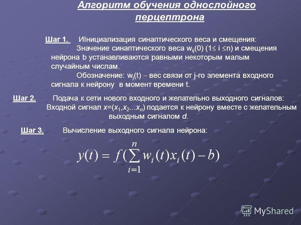 Алгоритм обучения однослойного перцептрона Шаг 1. ИІнициализация синаптического веса и смещения: Значение синаптического веса w ij (0) (1 i n) и смещения нейрона b устанавливаются равными некоторым малым случайным числам. Обозначение: w j (t) вес свя