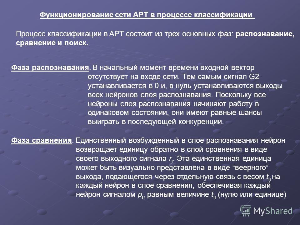 Функционирование сети APT в процессе классификации Процесс классификации в APT состоит из трех основных фаз: распознавание, сравнение и поиск. Фаза распознавания. В начальный момент времени входной вектор отсутствует на входе сети. Тем самым сигнал G