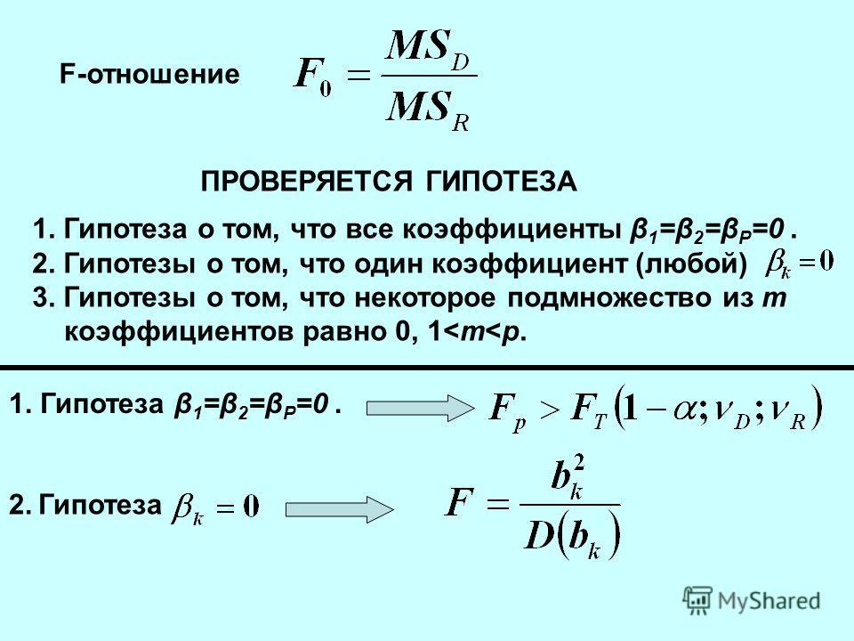 F-отношение ПРОВЕРЯЕТСЯ ГИПОТЕЗА 1. Гипотеза о том, что все коэффициенты β 1 =β 2 =β Р =0. 2. Гипотезы о том, что один коэффициент (любой) 3. Гипотезы о том, что некоторое подмножество из m коэффициентов равно 0, 1