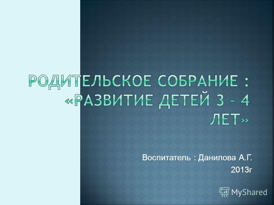 Воспитатель : Данилова А.Г. 2013г