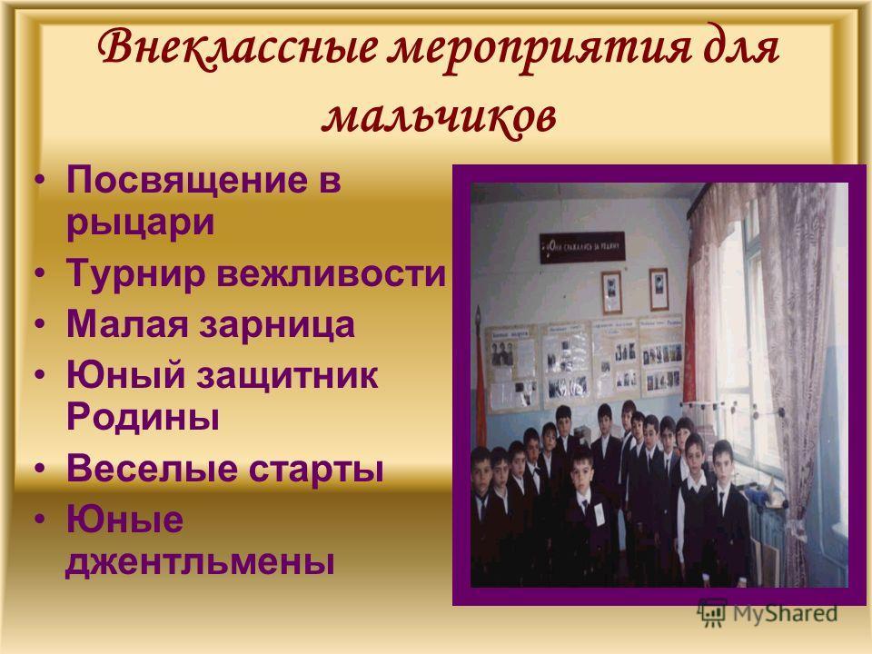 Внеклассные мероприятия для мальчиков Посвящение в рыцари Турнир вежливости Малая зарница Юный защитник Родины Веселые старты Юные джентльмены