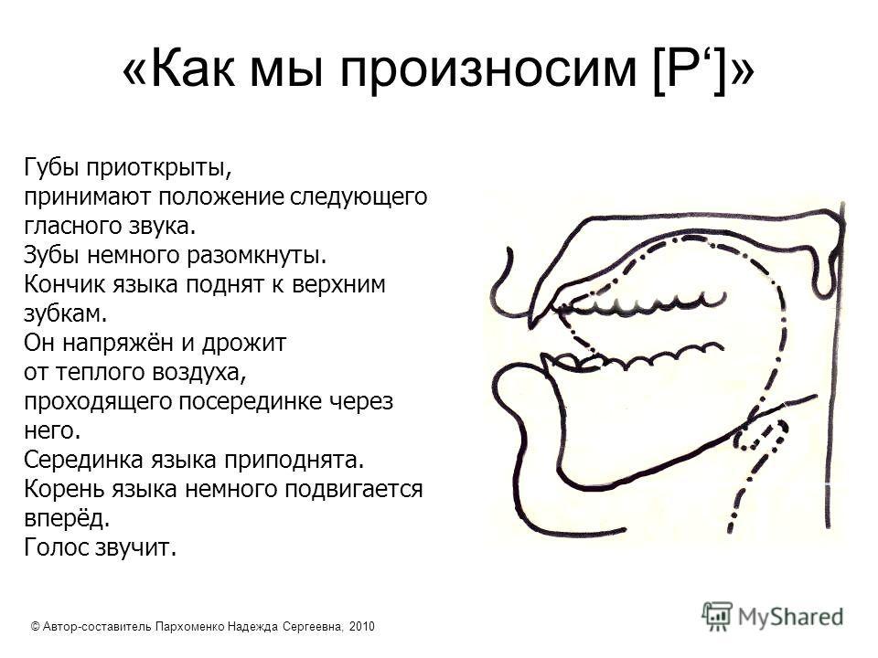 «Как мы произносим [Р]» Губы приоткрыты, принимают положение следующего гласного звука. Зубы немного разомкнуты. Кончик языка поднят к верхним зубкам. Он напряжён и дрожит от теплого воздуха, проходящего посерединке через него. Серединка языка припод
