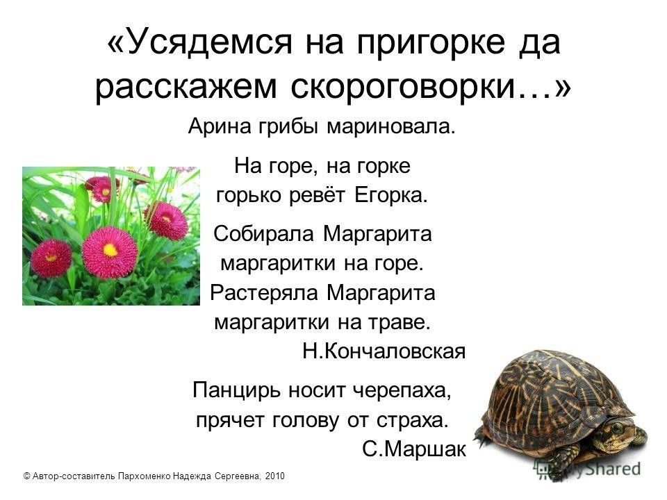 «Усядемся на пригорке да расскажем скороговорки…» Арина грибы мариновала. На горе, на горке горько ревёт Егорка. Собирала Маргарита маргаритки на горе. Растеряла Маргарита маргаритки на траве. Н.Кончаловская Панцирь носит черепаха, прячет голову от с