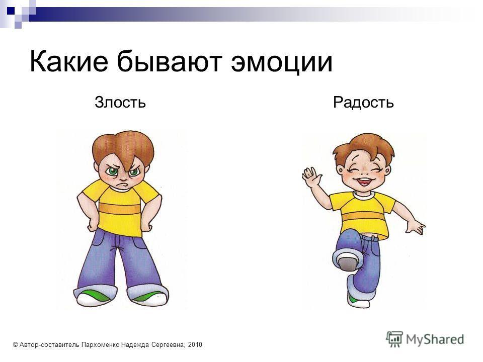 Какие бывают эмоции Злость Радость © Автор-составитель Пархоменко Надежда Сергеевна, 2010