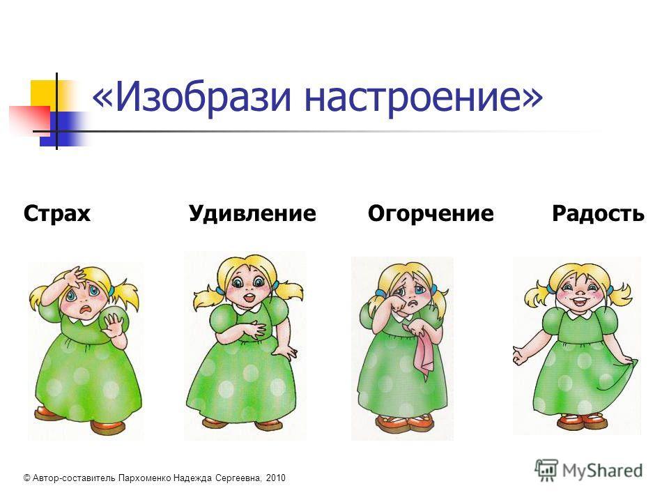 «Изобрази настроение» Страх Удивление Огорчение Радость © Автор-составитель Пархоменко Надежда Сергеевна, 2010