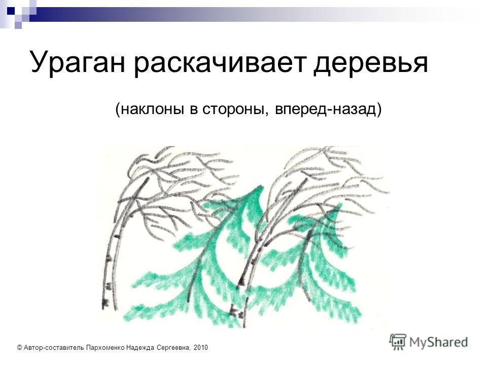 Ураган раскачивает деревья (наклоны в стороны, вперед-назад) © Автор-составитель Пархоменко Надежда Сергеевна, 2010