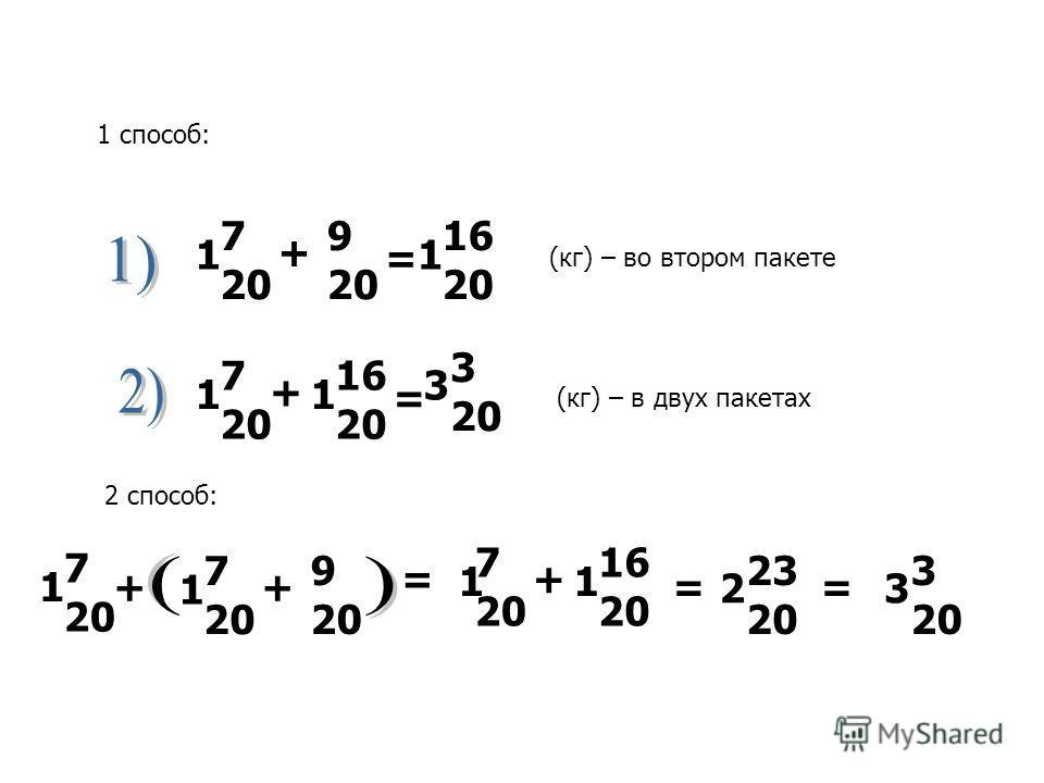 7 20 9 20 1 + = 16 20 1 7 20 1 + 16 20 1 = 3 3 20 1 способ: (кг) – во втором пакете (кг) – в двух пакетах 2 способ: 7 20 9 20 1+ 7 20 1 + = 7 20 1 + 16 20 1 = 2 23 20 3 3 20 =