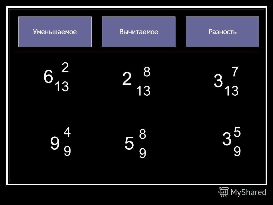 УменьшаемоеВычитаемоеРазность 6 5 3 3 2 13 8 9 7 5 9 9 2 8 4 9