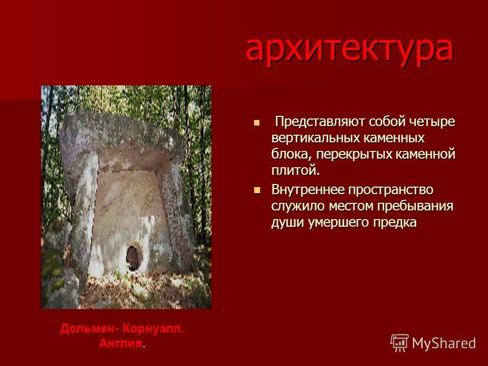 архитектура Представляют собой четыре вертикальных каменных блока, перекрытых каменной плитой. Представляют собой четыре вертикальных каменных блока, перекрытых каменной плитой. Внутреннее пространство служило местом пребывания души умершего предка В