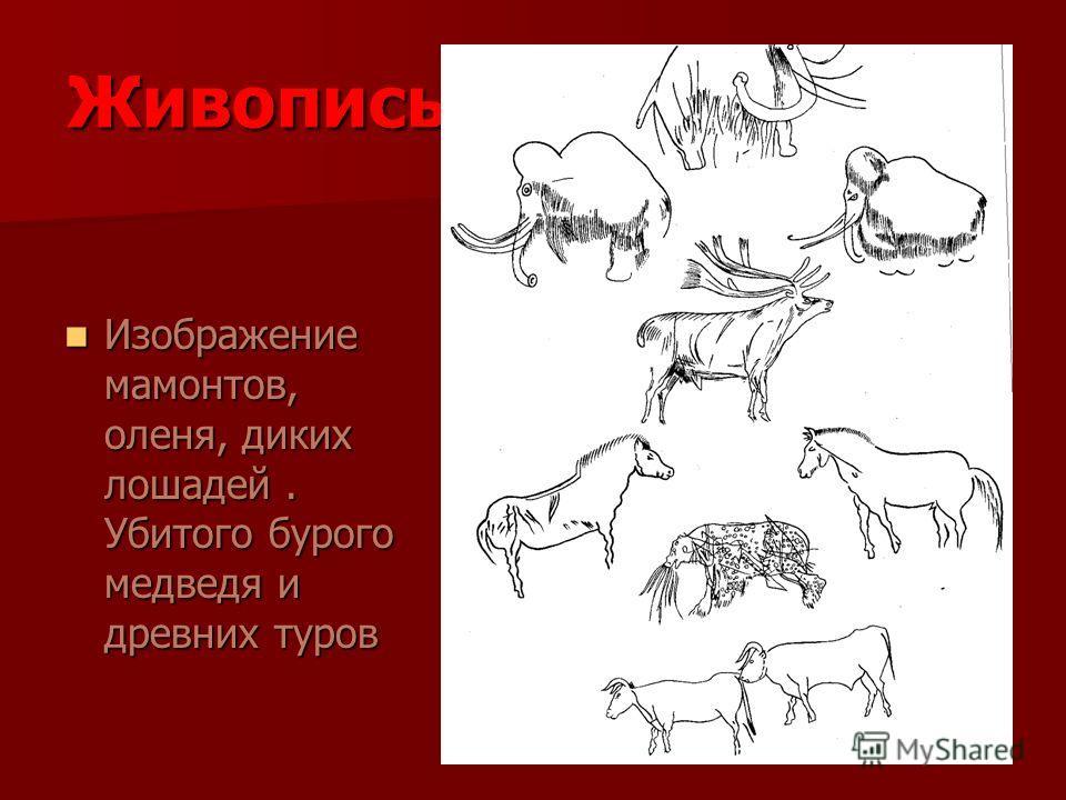 Живопись Изображение мамонтов, оленя, диких лошадей. Убитого бурого медведя и древних туров Изображение мамонтов, оленя, диких лошадей. Убитого бурого медведя и древних туров