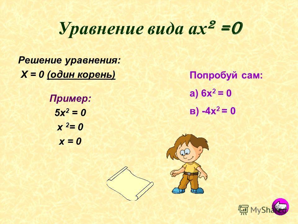 Уравнение вида ах 2 =0 Решение уравнения: Х = 0 (один корень) Пример: 5х 2 = 0 х 2 = 0 х = 0 Попробуй сам: а) 6х 2 = 0 в) -4х 2 = 0