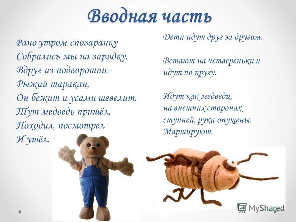 Вводная часть Дети идут друг за другом. Встают на четвереньки и идут по кругу. Идут как медведи, на внешних сторонах ступней, руки опущены. Маршируют. Р ано утром спозаранку Собрались мы на зарядку. Вдруг из подворотни - Рыжий таракан, Он бежит и уса