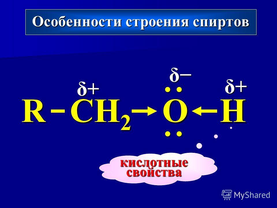 Особенности строения спиртов R CH 2 OH δ+δ+δ+δ+ δ+δ+δ+δ+ δ кислотные свойства H