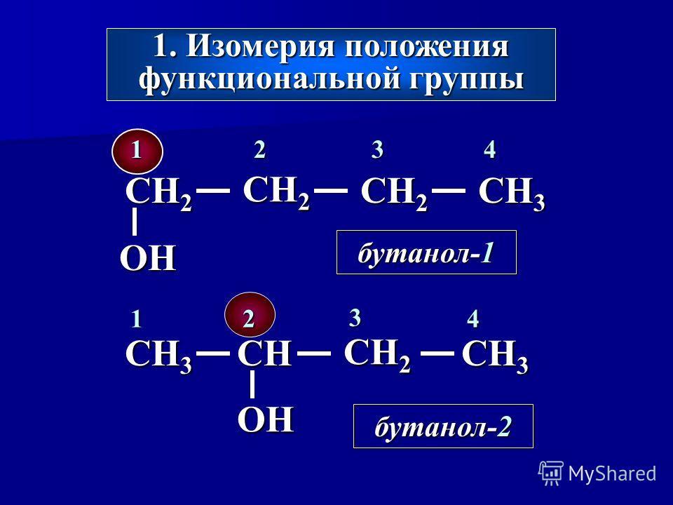 1. Изомерия положения функциональной группы CH 2 CH 3 CH 2 OH 1234 бутанол-1 CH 3 CH CH 2 CH 3 OH бутанол-2 12 3 4