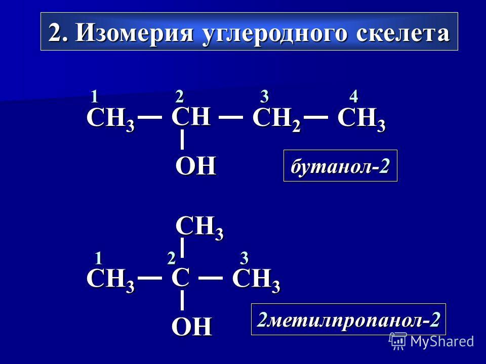 2. Изомерия углеродного скелета CH 3 C OH 123 2метилпропанол-2 CH 3 CH 2 CH OH 1234 бутанол-2