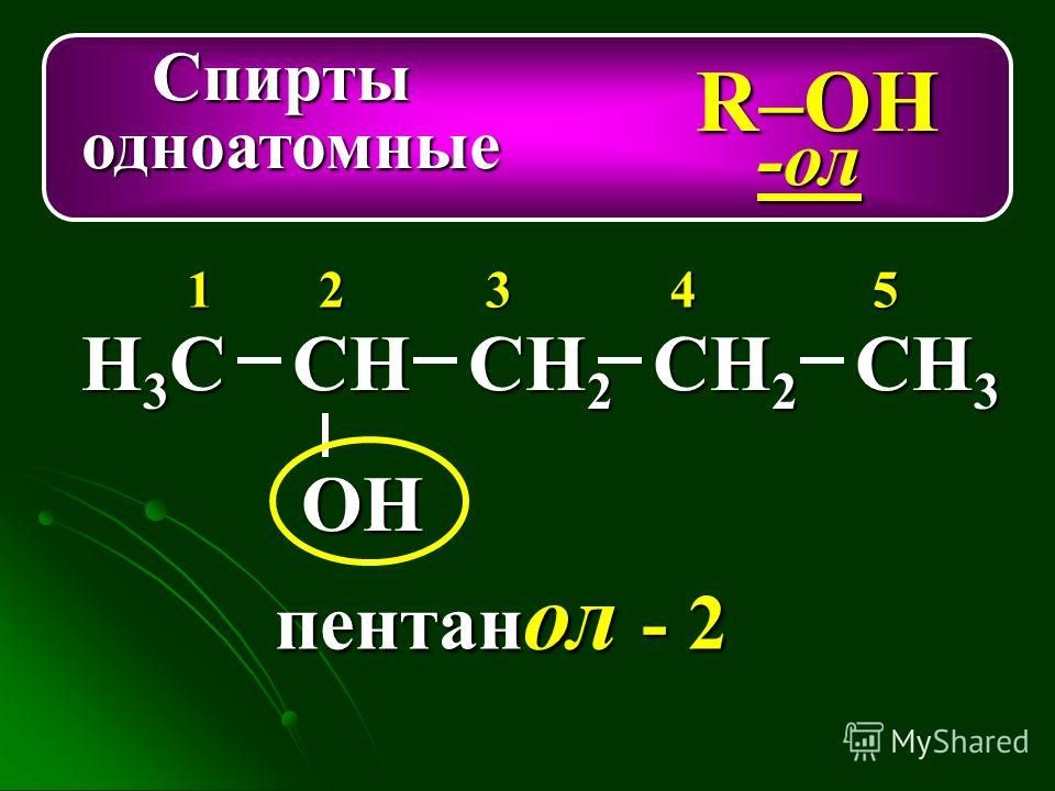 Спирты Спирты одноатомные одноатомные R–ОН -ол Н3СН3СН3СН3ССН СН 2 СН 3 ОН 12345 СН 2 пентан ол - 2