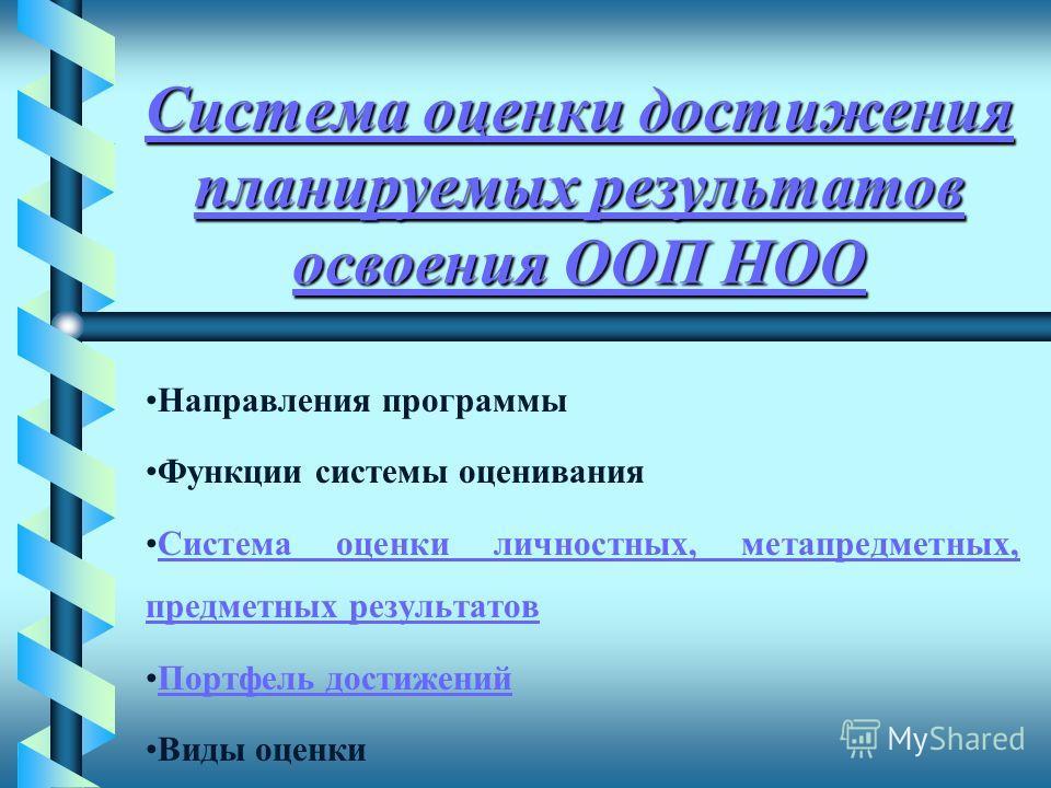 Система оценки достижения планируемых результатов освоения ООП НОО Система оценки достижения планируемых результатов освоения ООП НОО Направления программы Функции системы оценивания Система оценки личностных, метапредметных, предметных результатовСи
