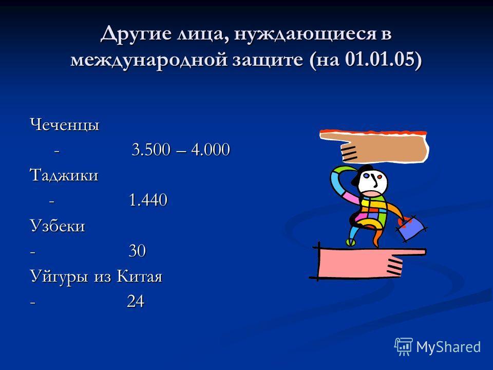 Другие лица, нуждающиеся в международной защите (на 01.01.05) Чеченцы - 3.500 – 4.000 - 3.500 – 4.000Таджики - 1.440 - 1.440Узбеки - 30 Уйгуры из Китая - 24