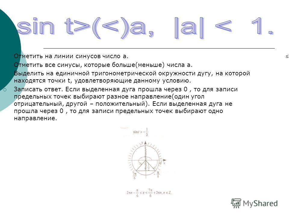 Отметить на линии синусов число а. Отметить все синусы, которые больше(меньше) числа а. Выделить на единичной тригонометрической окружности дугу, на которой находятся точки t, удовлетворяющие данному условию. Записать ответ. Если выделенная дуга прош